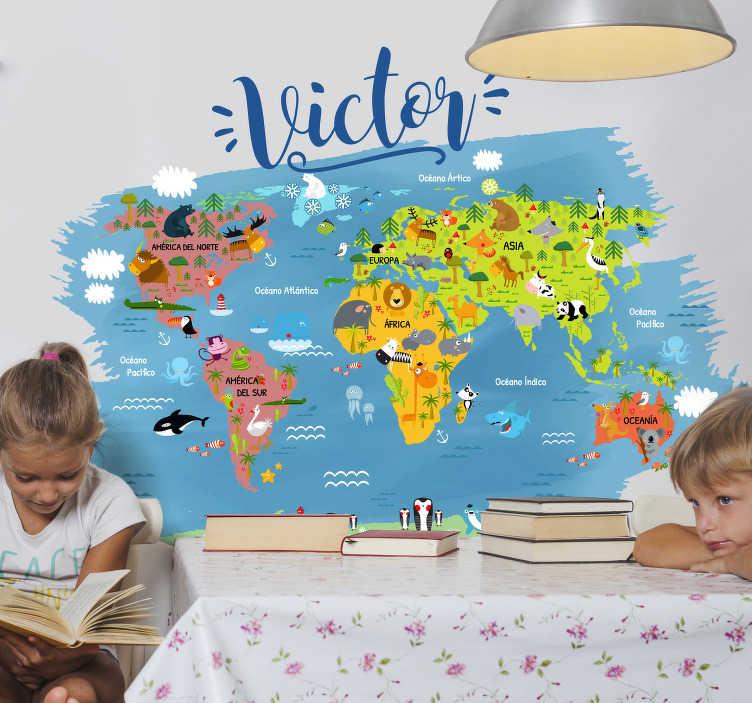 TenVinilo. Vinilo pared Mapamundi Animal con nombre. Mural infantil formado por un mapamundi con los animales típicos de cada zona y el nombre de tu pequeño o pequeña. +10.000 Opiniones satisfactorias.