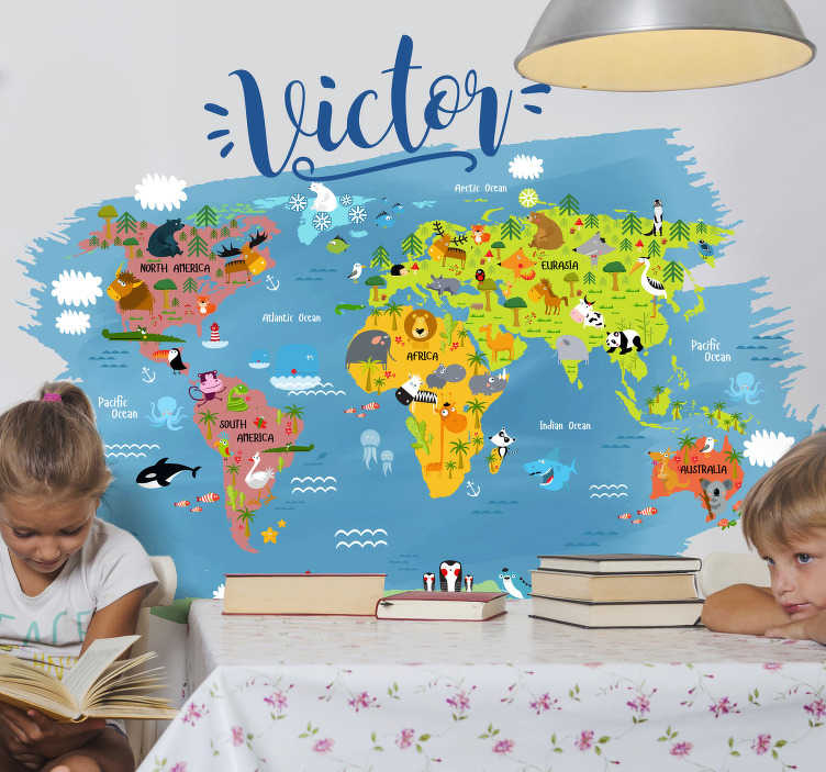 TenStickers. Personalised World Map Sticker. Start educating your children of the world around them with this amazing personalised cartoon world map sticker. Worldwide delivery!
