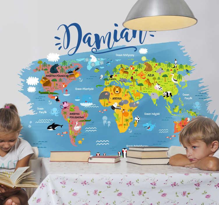 TenStickers. Naklejka mapa świat zwierzęta oceany imię. Mapa świata to edukacyjna i dekoracyjna naklejka na ścianę dla Twojego dziecka, przedstawiająca  kontynenty oraz oceany i zwierzęta!