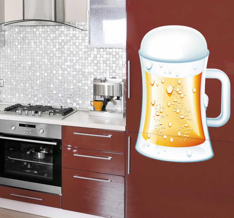 TenStickers. Adesivo decorativo boccale di birra. Sticker decorativo che raffigura un invitante boccale di birra che trabocca di schiuma. Una decorazione ideale per le pareti o le vetrine di un pub.