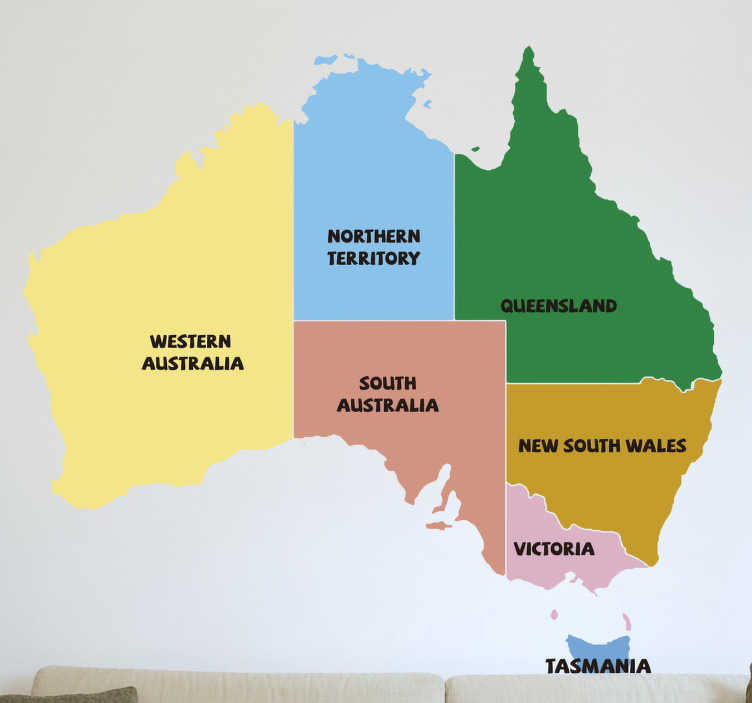 TenStickers. Australia States Map Sticker. Start learning your Australian States today with this amazing political Australia map sticker. Worldwide delivery available!