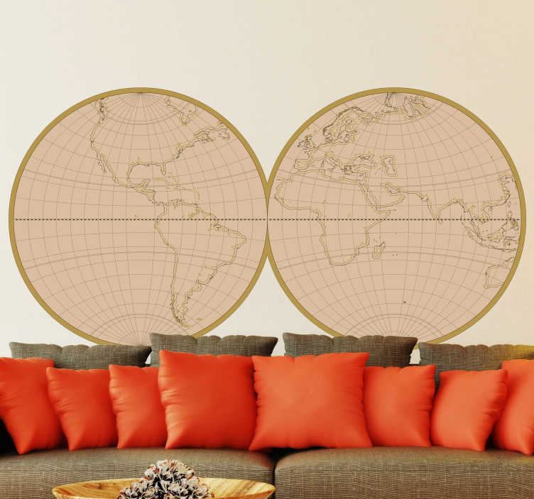 TenStickers. Vintage World Map Home Wall Sticker. Give your home a cool and edgy feel with this amazing Antique World Map wall sticker. Free worldwide delivery available!