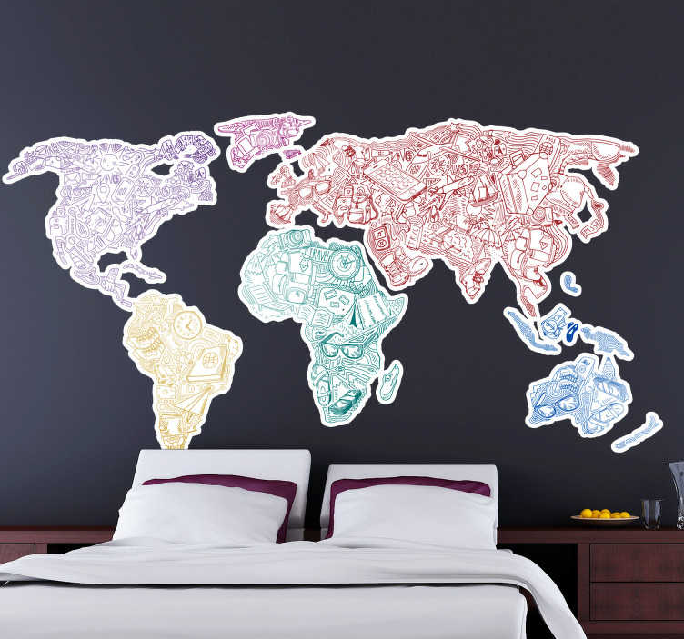 TenStickers. Travel World Map Wall Sticker. Show off to the world just how much you love to travel with this incredible travel world map wall sticker. Choose from a range of sizes!