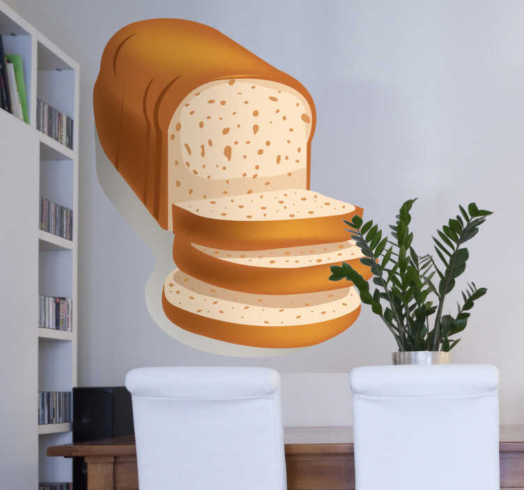 TenStickers. Sticker cuisine tranches de pain. Décorez votre mobilier ou vos murs avec ce stickers coloré pour cuisine représentant un pain à la mie moelleuse coupé en tranches.Jolie idée déco pour la cuisine.