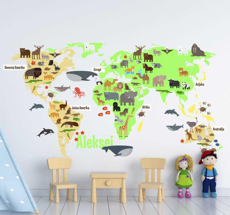 TenStickers. Zemljevid sveta favne z imenom v slovenščini. Otroška soba svet nalepka na zemljevidu napolnjena z živalmi favne po vsem svetu v slovaščini, ki jih bodo malčki imeli radi!