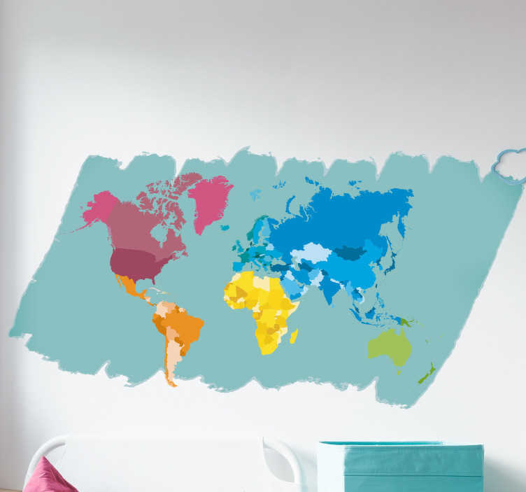 TenStickers. Colourful World Map Wall Sticker. Shadow off both how artistic you are and your love for cartography with this colourful world map sticker. Choose from a range of sizes!