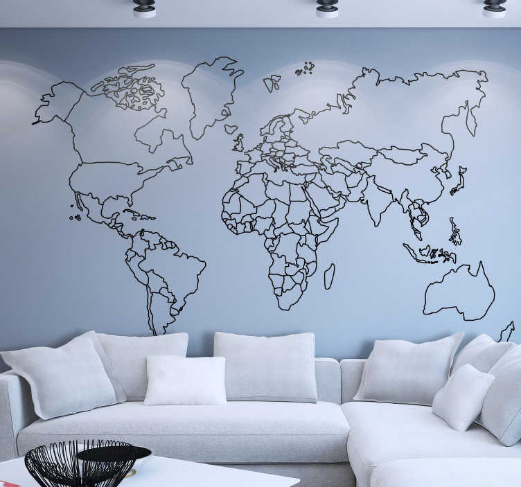 TenStickers. Outline World Map Sticker. Brings Beauty off the world into your home with this gorgeous geometric World map wall sticker. Choose from a range of over 50 different colours!