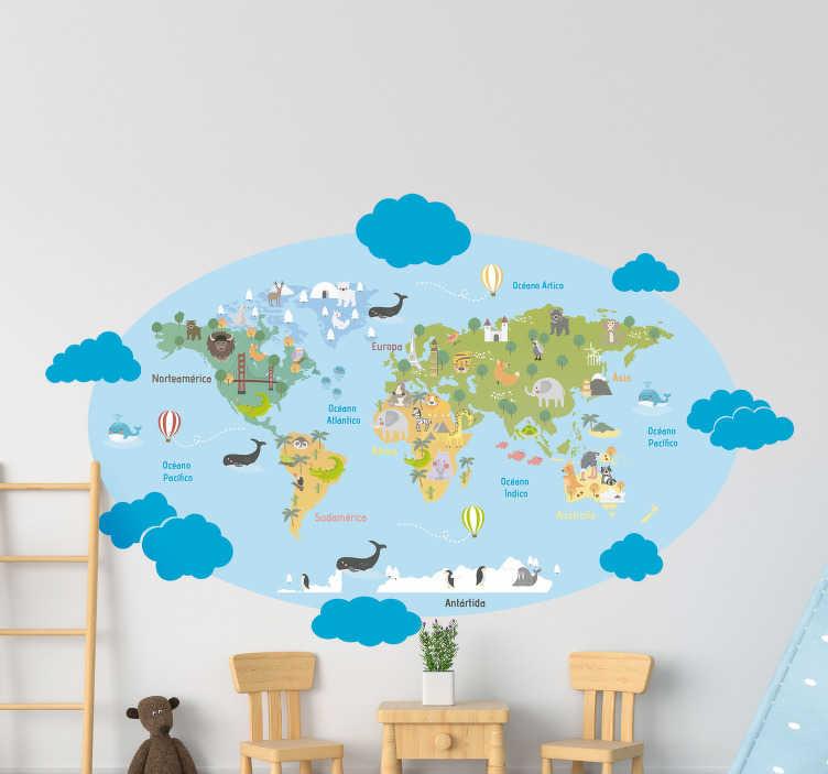 TenVinilo. Vinilo mapamundi infantil animales y continentes. Vinilo mapamundi infantil con animales y nombre de continentes, rodeado de un cielo azul y nubes. Un producto de fácil colocación y primera calidad.