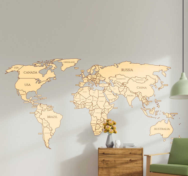 TenStickers. Political World Wall Sticker. Start learning your countries with this amazing  political world map wall sticker. Free worldwide delivery available now!