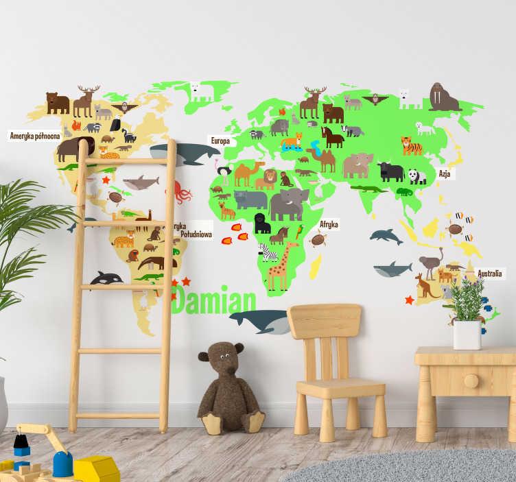 TenStickers. Naklejka mapa świata i zwierzęta dla dzieci. Naklejka na ścianę mapa świata to idealna dekoracja do pokoju dziecka, przedstawia wszystkie kontynenty wraz z występującymi na nimi zwierzętami!
