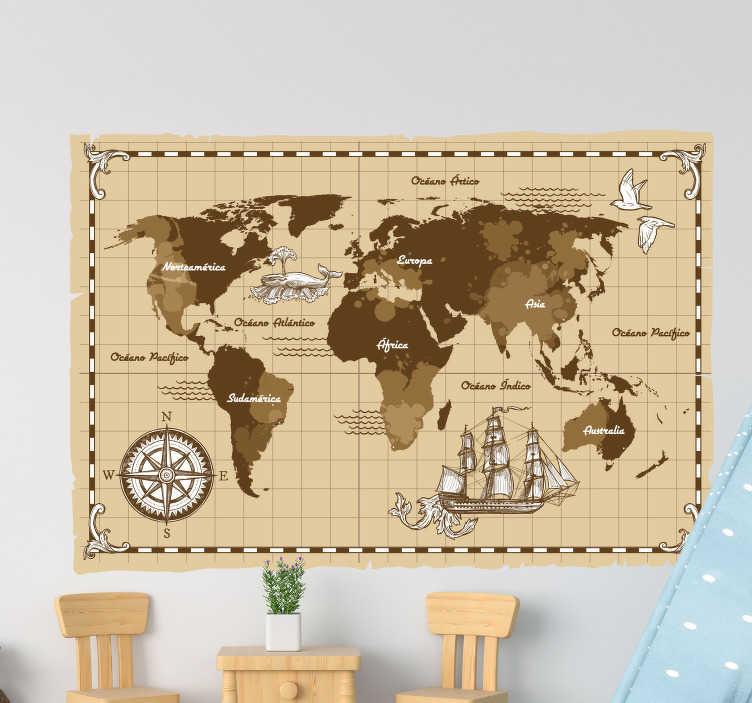 TenVinilo. Vinilo mapamundi planisferio vintage. Mural de mapamundi en un color beige envejecido y con un estilo muy vintage, con los nombres de los continentes y océanos. Envío Express en 24/48h.