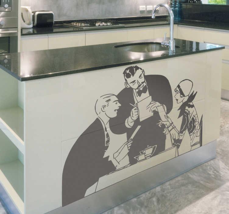 Sticker koppel op restaurant