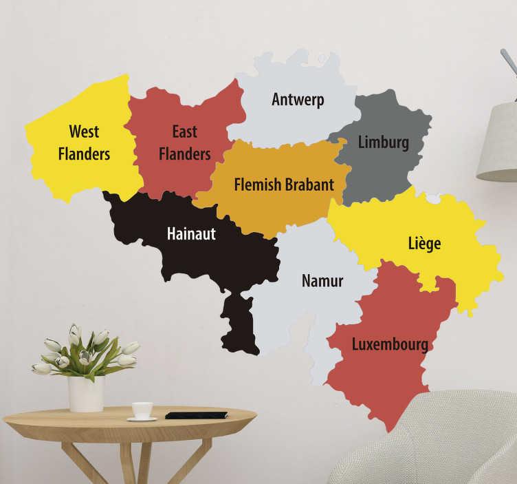 TenStickers. Muurstickers tekst kaart belgie. Deze locatie stickers zijn super mooi om op te plakken op welke plek dan ook. Een deel van de Benelux wordt laten zien met verschillende steden.