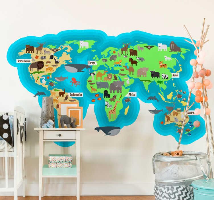 TenStickers. Dyr fauna verdenskort dansk hjemmevægklistermærke. Børne soveværelse vægklistermærke af dyre fauna verdenskort med navnene på kontinenter og oceaner på dansk. Meget let at anvende.