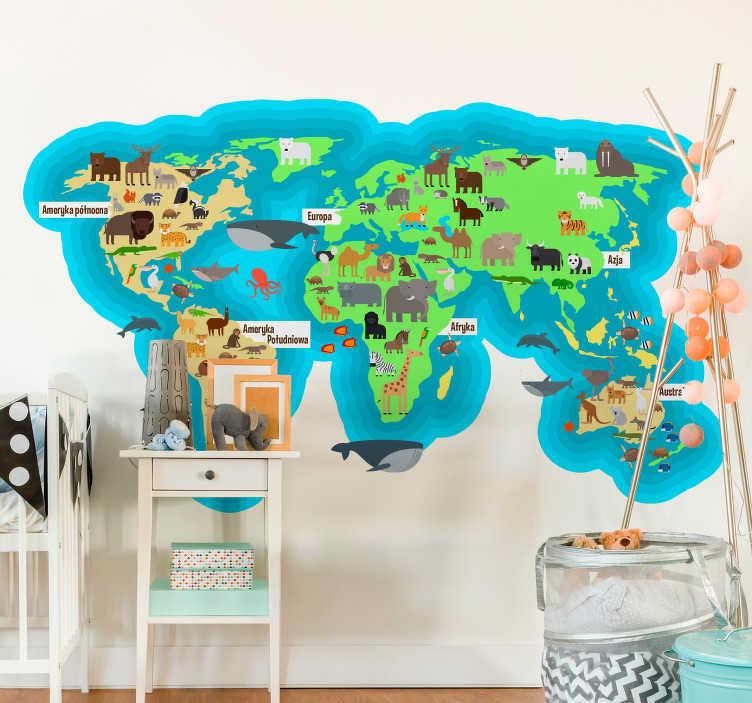 TenStickers. Naklejka mapa świat oceany kontynenty zwierzęta. Naklejka na ścianę mapa światastworzona specjalnie dla dzieci! Idealna dekoracja do pokoju, która będzie ozdabiać i pełnić funkcję dydaktyczną!