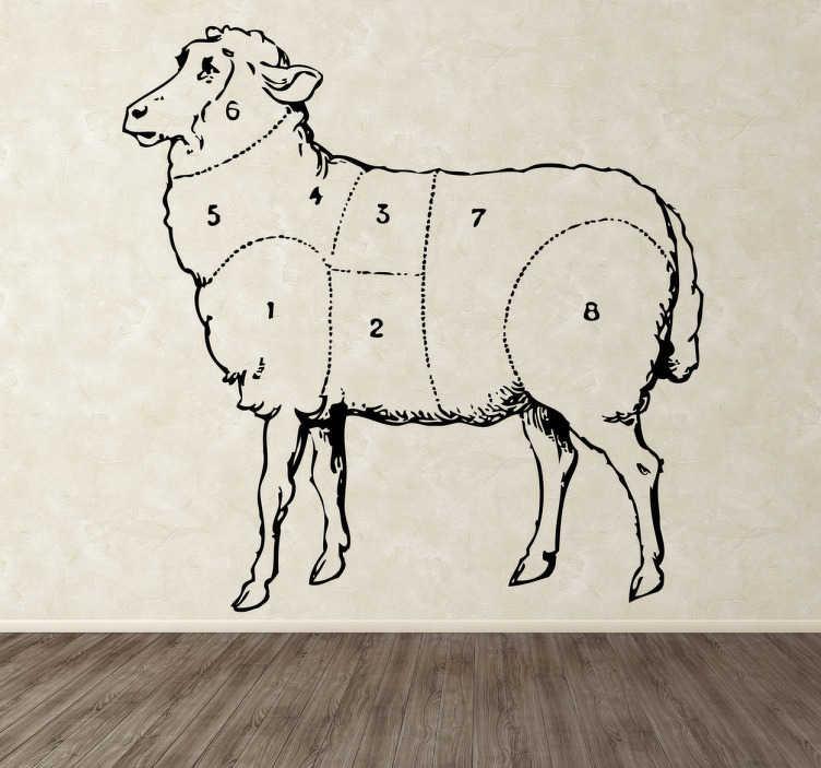 TenStickers. Naklejka dekoracyjna części owcy. Naklejka dekoracyjna przedstawiająca owcę i wyznaczone na niej poszczególne części ciała.
