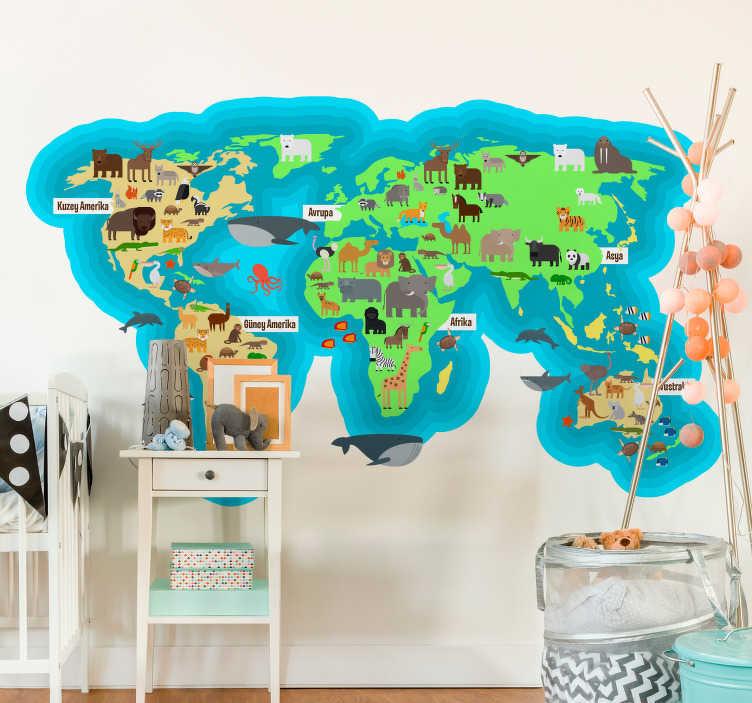 TenStickers. Hayvan fauna dünya haritası türkçe konum etiketi. Türkiye'de kıtaların ve okyanusların isimleri ile hayvan fauna dünya haritası çocuk odası duvar sticker. Son derece uzun ömürlü malzeme.