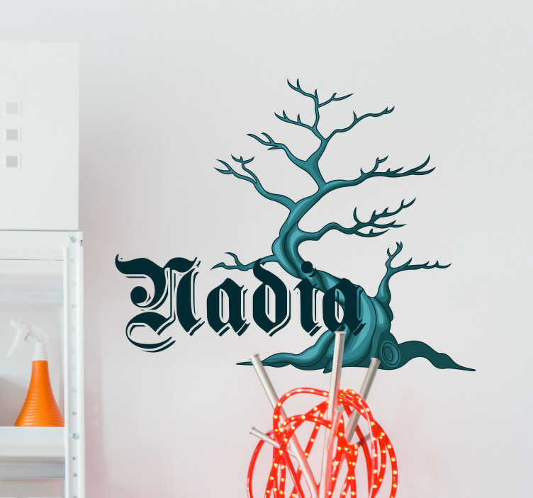 TenStickers. Spooky tree with personalised name halloween sticker. There's something about forests and old trees like in this Halloween sticker which just gives us at TenStickers goosebumps. Easy to apply