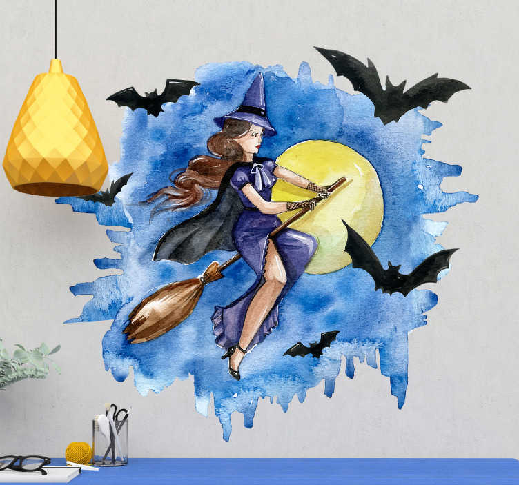 TenStickers. Witch watercolor illustration halloween wall sticker. Halloween festival decal design of a witch in water colour background. This design is for all flat surface to enjoy the festivity.