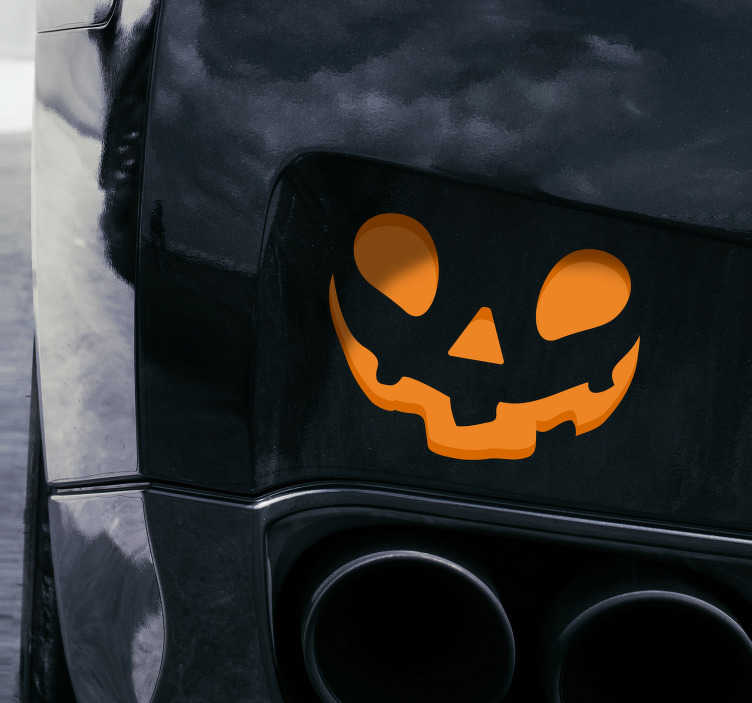 TenStickers. Halloween face for car halloween wall decal. Decorative car window decal design created with a Halloween festival face costume in beautiful colour and it is ideal for all vehicle types.