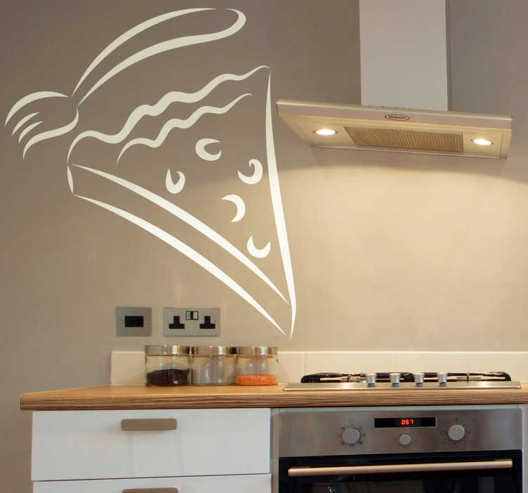 TenStickers. Cake & Fork Wall Decal. Wall Stickers - Decals - Outline illustration of a slice of cake with a fork. Ideal for homes or businesses such as cafes, bakeries and restaurants.