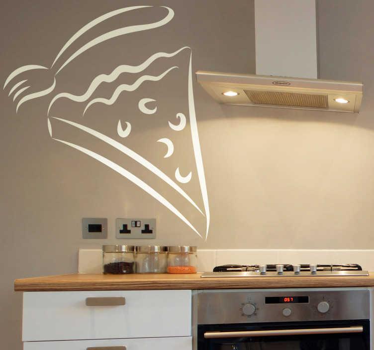 TenStickers. Wandtattoo Kuchenstück. Dekorieren Sie Ihre Küche auf kreative Art und Weise mit diesem Kuchenstück Aufkleber!