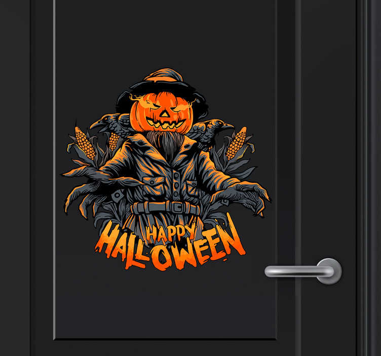 TenStickers. Muurstickers tienerkamer halloween personage. Deze supermooie halloween decoratie hoort bij een geslaagde halloween. Het product bestaat uit een pompoen personage met ´happy halloween´eronder.