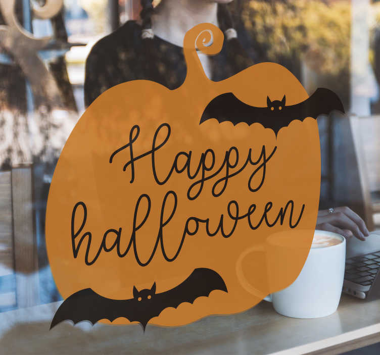 TenStickers. Happy Halloween pumpkin halloween sticker. Pumpkins are an essential for Halloween. This pumpkin window sticker comes in  variety of sizes. It is easy to apply and can be applied to windows!