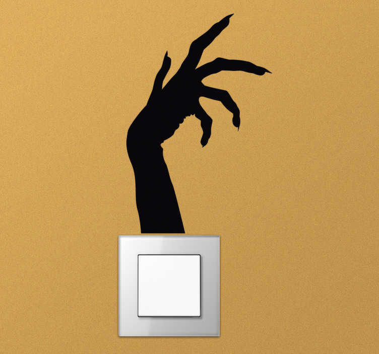 TenStickers. Zombie hand light switch cover sticker. This creepy light switch sticker will lend you a hand in creating that scary atmosphere you want during the Halloween season! Easy application