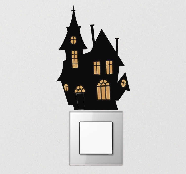 TenStickers. Haunted house light switch cover sticker. Check out this spooky light switch sticker. Make the simple task of turning on and off the light scary this Halloween! Go on take a look