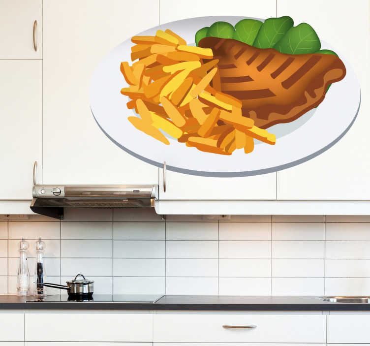 TenStickers. Sticker decorativo bistecca con patatine. Adesivo murale che raffigura un bel piatto con bistecca di manzo accompagnata da patatine fritte e foglie di insalata. Ideale per decorare la cucina.