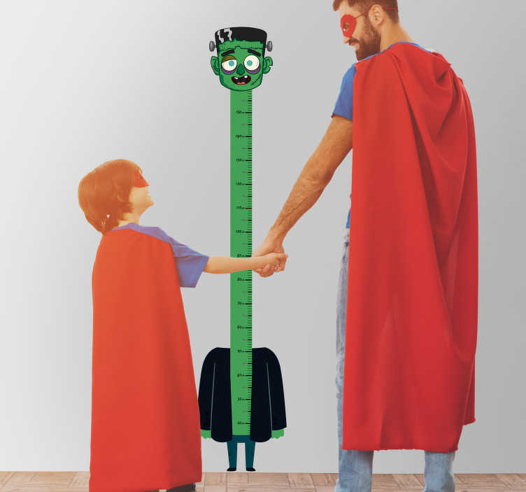 TenStickers. Halloween height chart wall sticker. Is your little one growing? Want to cherish each and every centimeter? Why not do it with this frankenstein height chart sicker!