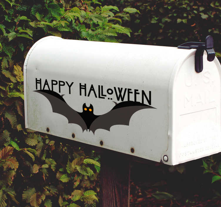 TenStickers. Happy Halloween bat halloween wall sticker. Wish everyone a happy Halloween with this bat sticker! Decorating for Halloween couldn't get any easy with this bat Halloween decal.