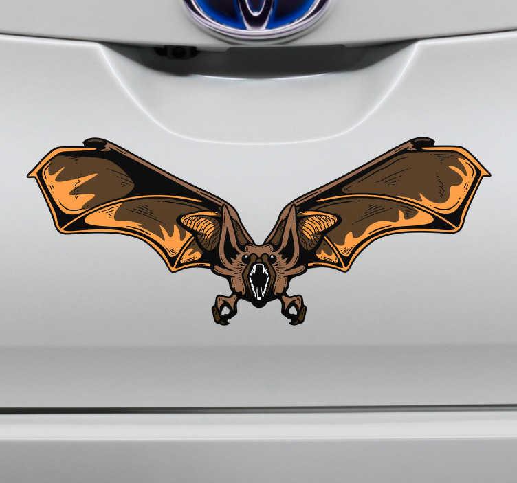 TenStickers. Stickers Dessin chauve-souris voiture. Célébrez la fête des morts jusqu'à décorer votre véhicule grâce à ce sticker Halloween chauve-souris et ses airs étranges et déroutants.