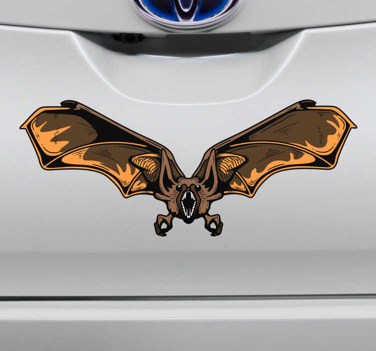 TenStickers. 박쥐 할로윈 자동차 스티커. 사람들에게 이동 중에 두려움을주고 싶습니까? 잘 우리는 당신을위한 완벽한 차 스티커가 있습니다! 어디에서나 쉽게 적용 할 수 있습니다.