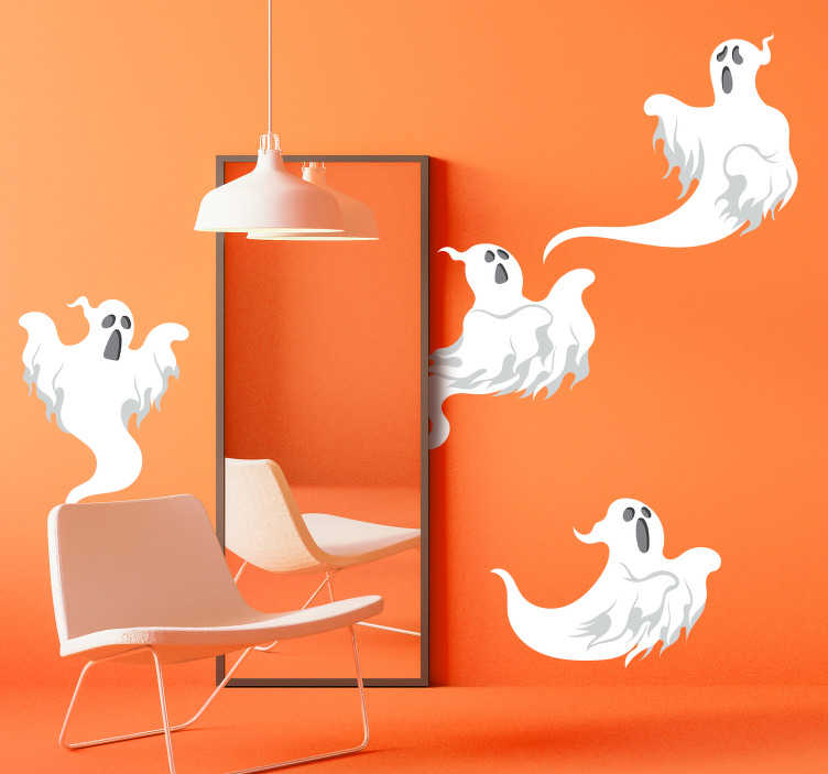 TenStickers. Set of ghosts halloween wall sticker. It's a gh-gh-gh-ghost Don't worry though these ghost Halloween stickers aren't real…or are they? Easy to apply and easy to remove!