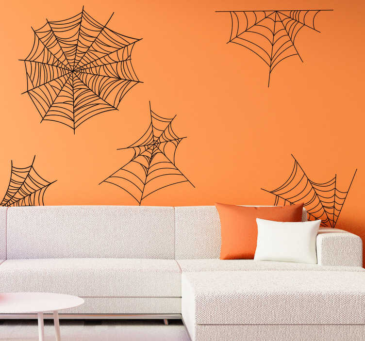 TenStickers. Cobwebs halloween wall sticker. At Halloween, the scarier the better, and for some people, spiders are the scariest! Hauntingly easy to apply. High quality material!