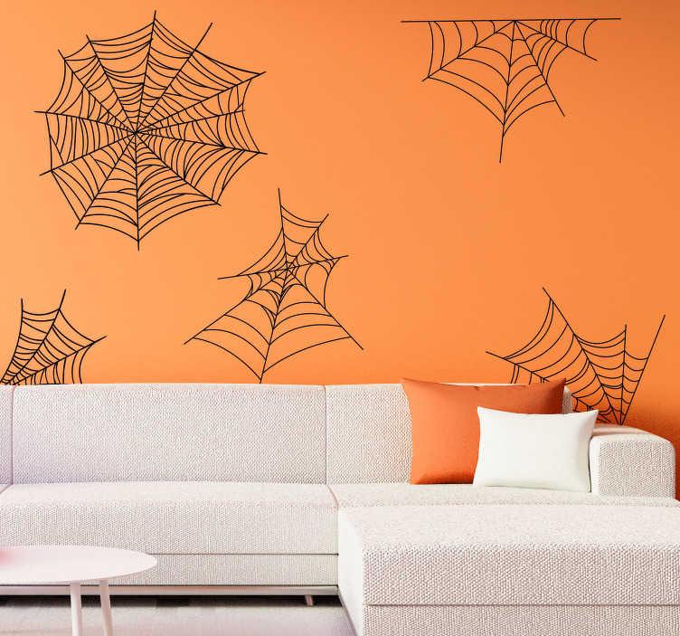 TenStickers. Disegno per pareti ragnatele halloween. Non può considerarsi un vero Halloween senza un adesivo murale con le ragnatele che donano spettralità e terrore a tutti gli ambienti.