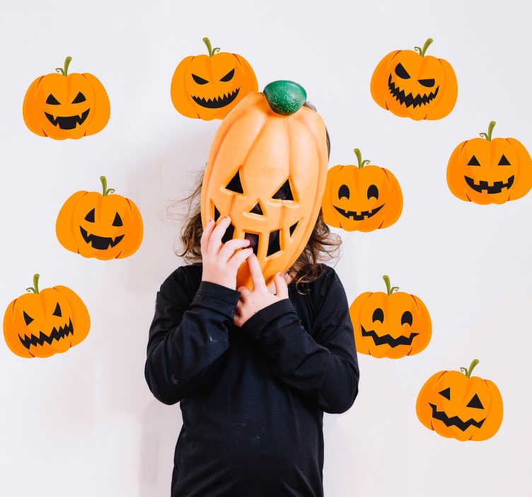TenStickers. Set of pumpkins Halloween wall stickers. Don't want to carve your own pumpkin this year, but still want pumpkins in your home? Why not decorate with this set of pumpkin halloween stickers?