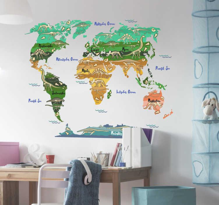 TenStickers. Wandtattoo für Zuhause Weltkarte Dinosaurier. Wandtattoo Weltkarte perfekt für das Kinderzimmer thematisiert die verschiedenen Dinosaurier der verschiedenen Kontinente in schönen Erdtönen