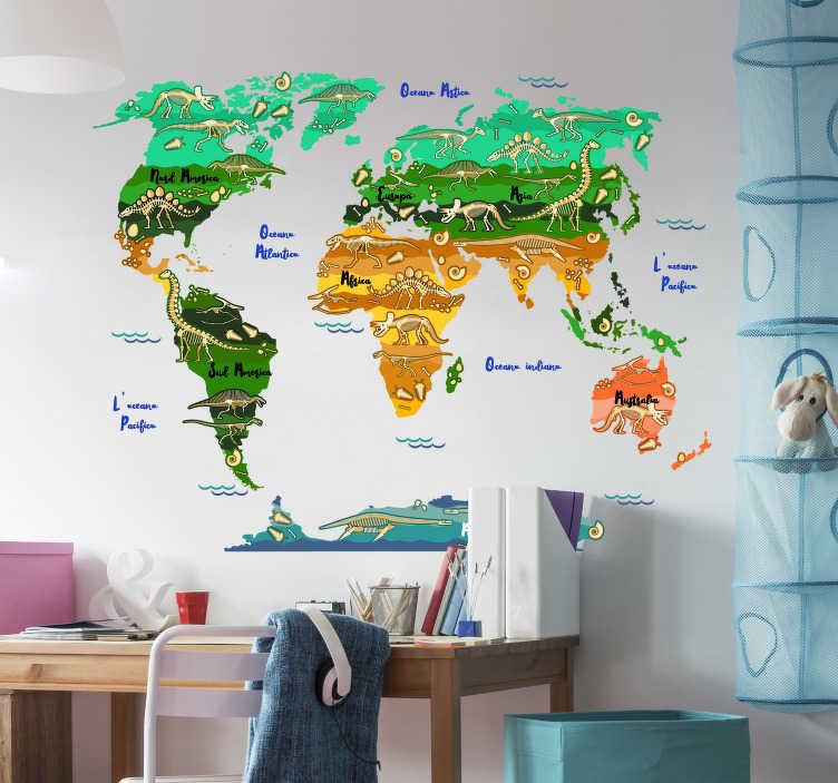 TenStickers. Adesivo murale mappamondo dinosauri e nomi. Questo fantastico adesivo murale mappamondo dinosauri è frutto di un'idea geniale, sono queste le nostre origini primordiali e sono comuni a tutti.