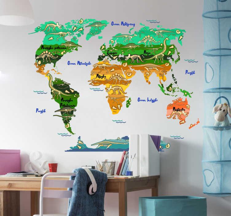 TenStickers. Naklejka z rysunkiem mapa świata z dinozaurami. Naklejka mapa świataprzedstawia szkielety dinozaurów w poszczególnych miejscach na świecie, idealna naklejka dla dzieci!