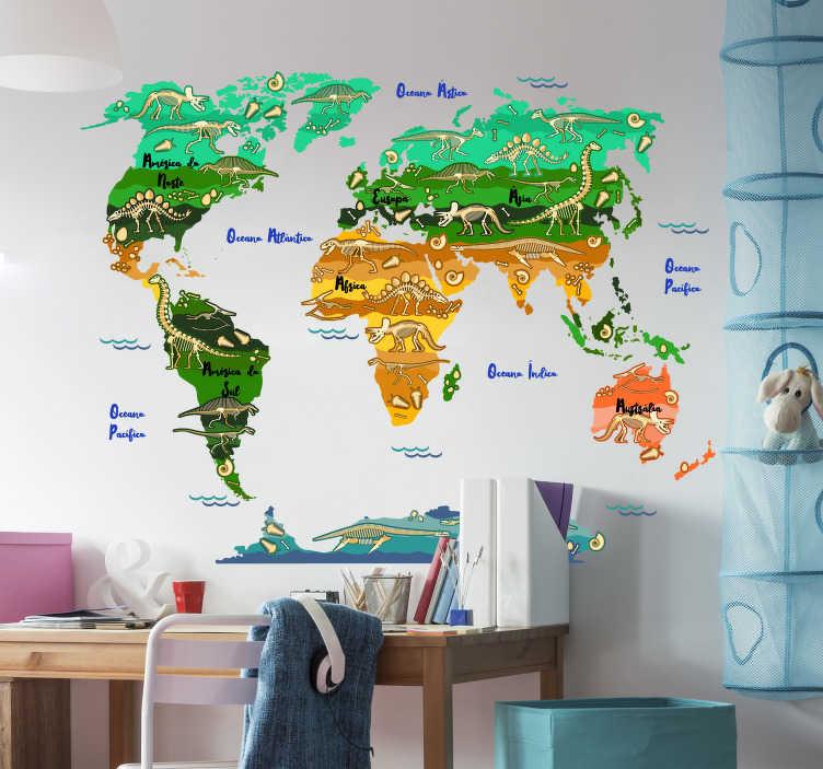 TenStickers. Autocolante mundo Mapa Dinossauros Nome Português. Divertido adesivo decorativo para quarto infantil com mapa mundo e os dinossauros que viveram em cada um dos continentes.