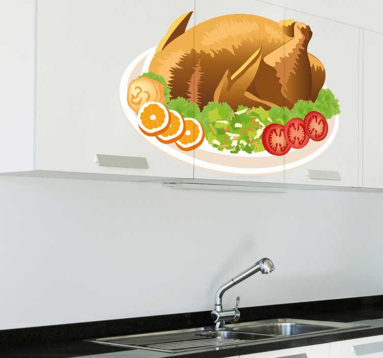 TenVinilo. Vinilo decorativo plato pollo con guarnición. Adhesivo de un jugoso pavo relleno al horno decorado con frutas y verduras que le dan un toque de color. Decora tu cocina con este gran plato.