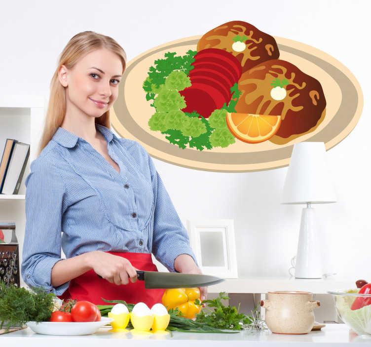 TenVinilo. Adhesivo plato de carne con guarnición. Exquisito Adhesivo de pato a la naranja acompañado por verduras. Decora tu cocina con este original y sabroso vinilo.