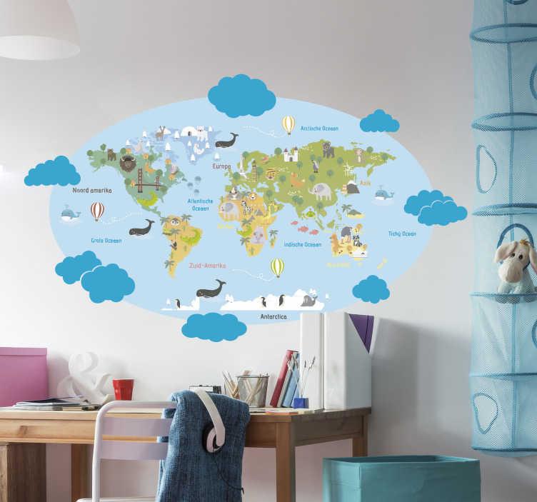 TenStickers. Muurstickers kinderkamer met wolkjes. Laat uw kinderen de wereld ontdekken met deze kleurvolle wereldkaart met verschillende dieren en wolkjes uit de collectie wereldkaart