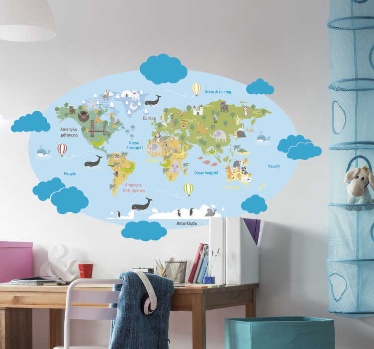 TenStickers. Naklejka na ścianę dla dzieci błękitna mapa świata. Naklejka na ścianę zwierzęta przedstawia mapę świata utrzymaną w pięknych kolorach, każdy kontynent i ocean są podpisane.