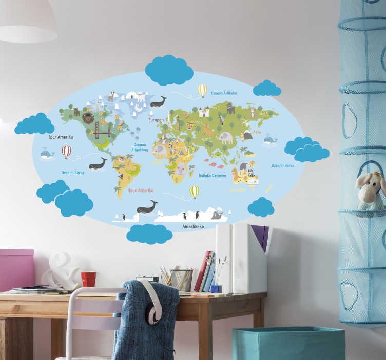 TenVinilo. Vinilo pared Planisferio Infantil Vasco. Pegatina de mapamundi con los animales típicos de cada zona y el nombre de los continentes y océanos en vasco. Vinilos Personalizados a medida.