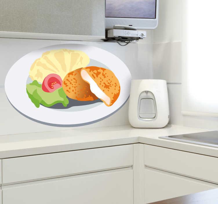 TenStickers. Sticker decorativo cotolette con purè. Adesivo decorativo che raffigura un piatto con cotolette di pollo al formaggio, accompagnate da purè di patate, insalata e pomodoro. Perfetto per decorare la cucina.