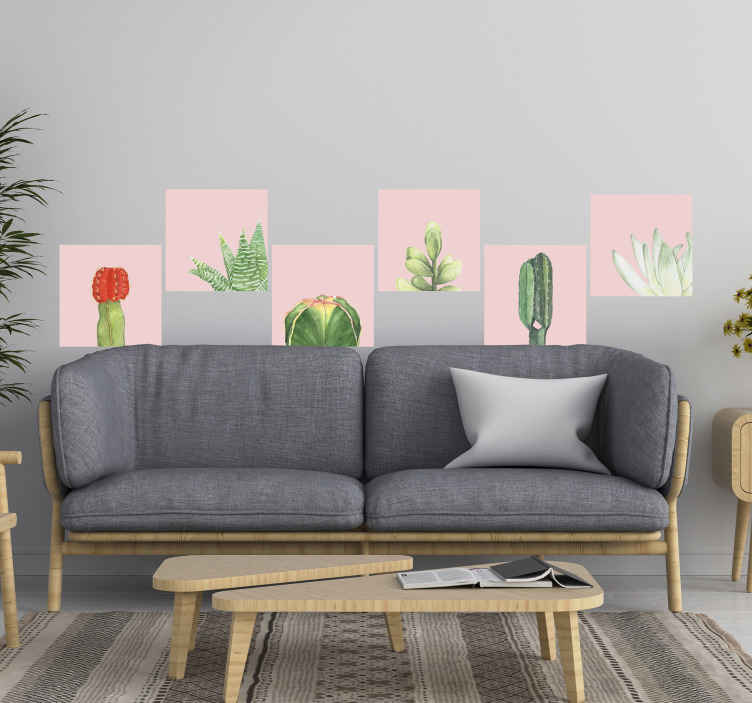 TENSTICKERS. サボテン植物壁デカール. 自然な雰囲気で空間を飾る美しいサボテンの植物壁アートデカール。必要なサイズのデザインがあります。